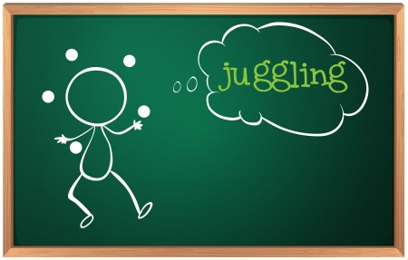 Illustration of a blackboard with a drawing of a boy juggling on a white background