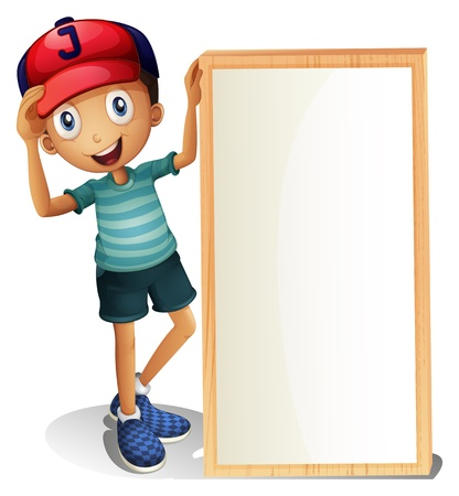 Illustration for Illustration of a young boy standing beside an empty signboard on a white background - Royalty Free Image
