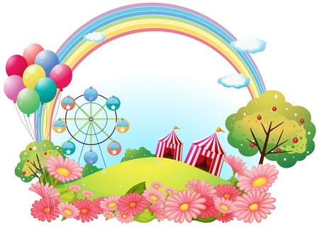 Illustration pour Illustration of a hill with circus tents, balloons and a ferris wheel on a white background  - image libre de droit