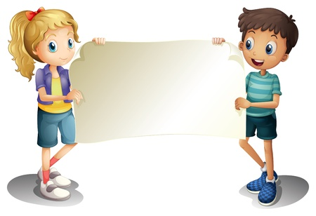 Illustration for Illustration of a girl and a boy holding an empty banner on a white background - Royalty Free Image