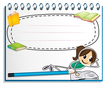 Illustration for Illustration of a notebook with a drawing of a girl reading on a white background - Royalty Free Image