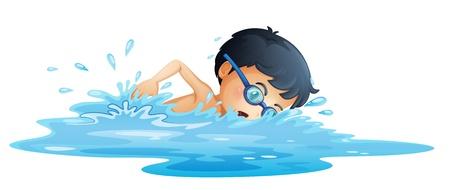 Vektor für Illustration of a kid swimming on a white background - Lizenzfreies Bild