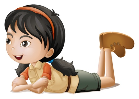 Illustration of a girl lying down on a white background