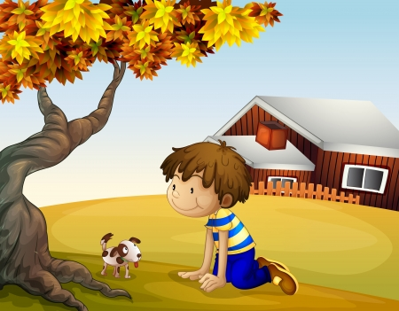 Illustration of a boy and his puppy under the tree
