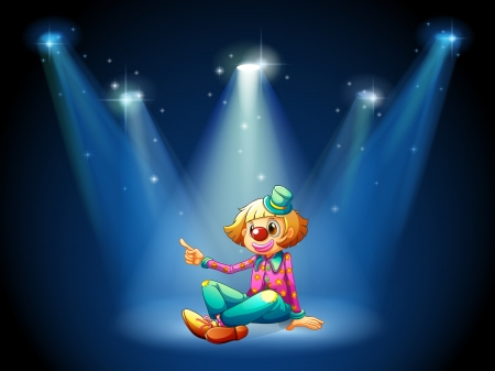 Illustration of a stage with a female clown sitting at the center