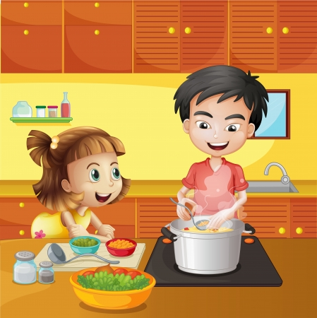 Illustration of a young girl and boy at the kitchen