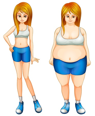 Illustration of a fat and a slim woman on a white background