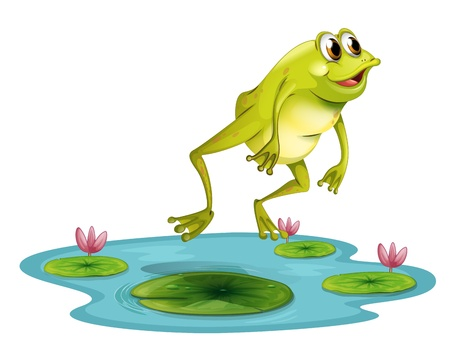 Illustration of a jumping frog at the pond on a white background