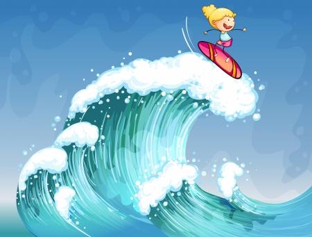 Illustration pour Illustration of a girl surfing  - image libre de droit