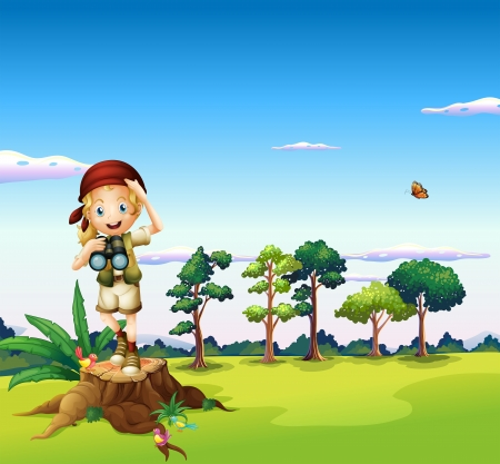 Illustration of a  girl with a telescope standing above a stump