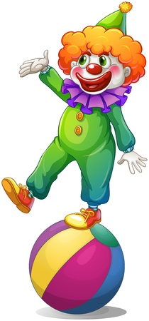 Illustration of a clown standing above the ball on a white background