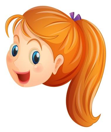 Ilustración de Illustration of a face of a girl smiling on a white background  - Imagen libre de derechos