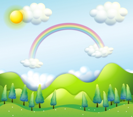 Illustration of a colorful sky above the green hills