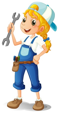 Illustration of a girl holding a tool on a white background