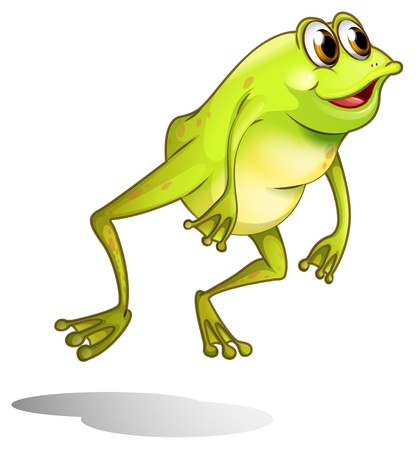 Illustration of a green frog hopping on a white background