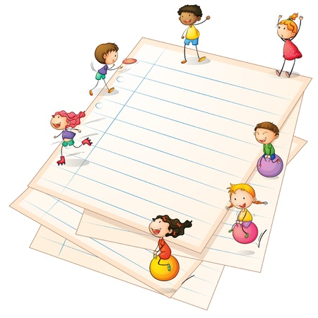 Illustration of the children playing at the paper borders
