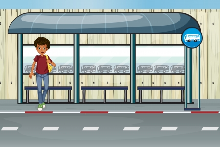 Illustration of a boy at the bus stop