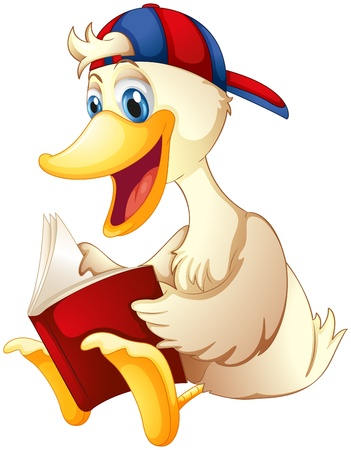 Illustration for Illustration of a happy duck reading a book on a white background  - Royalty Free Image