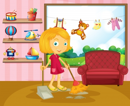 Illustration pour Illustration of a girl sweeping inside the house  - image libre de droit