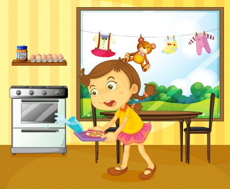 Illustration of a young girl holding a tray with foods