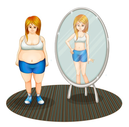 Illustration of a fat girl and her skinny reflection on a white background