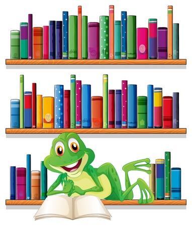 Illustration pour Illustration of a smiling frog reading a book on a white background - image libre de droit
