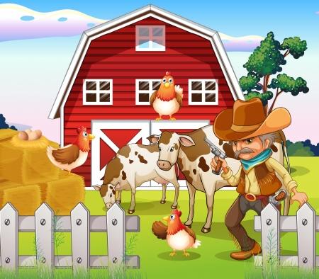 Foto de Illustration of a n old armed cowboy at the farm with a red barnhouse - Imagen libre de derechos