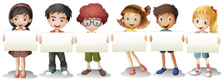 Illustration pour Illustration of the six kids with empty signages on a white background  - image libre de droit
