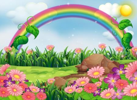 Illustration pour Illustration of an enchanting garden with a rainbow - image libre de droit