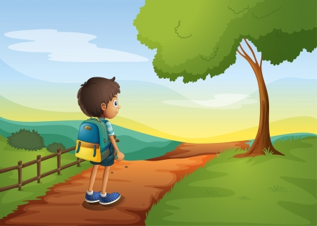 Illustration of a boy walking while carrying a bag