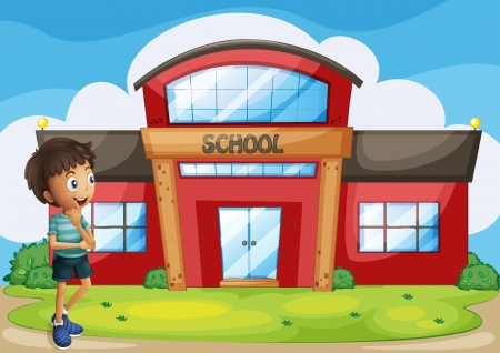 Illustration pour Illustration of a boy in front of the school building - image libre de droit