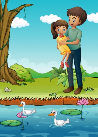 Illustration of a young girl and her father at the riverbank
