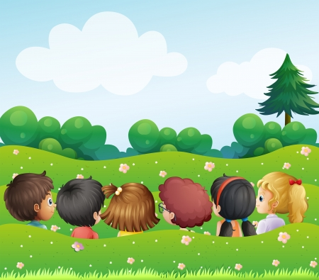 Illustration of the kids chatting at the hills