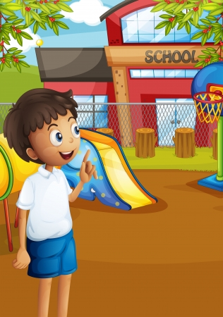 Illustration of a happy student at the school's playground