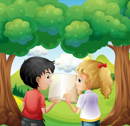 Illustration of the two kids discussing at the forest