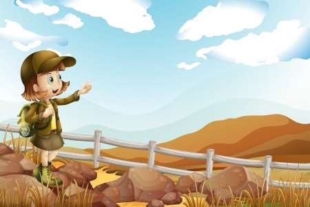 Illustration of a female explorer at the rocky area