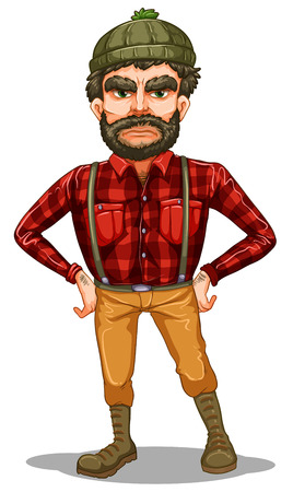 Illustration of a scary lumberjack standing on a white background