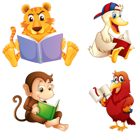 Illustration for Illustration of the four animals reading on a white background - Royalty Free Image