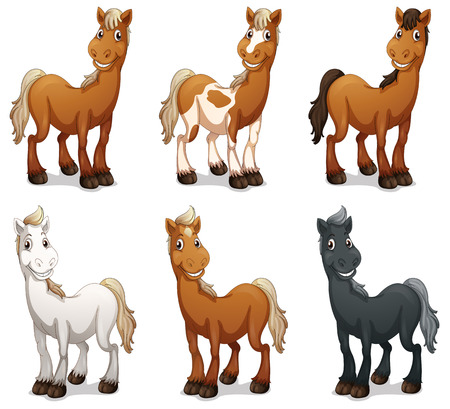 Illustration of the six smiling horses on a white background
