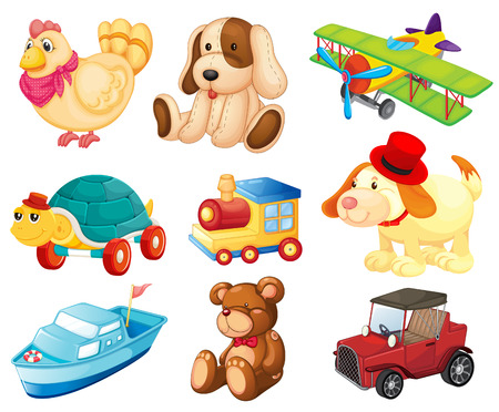 Illustration of the different toys on a white background