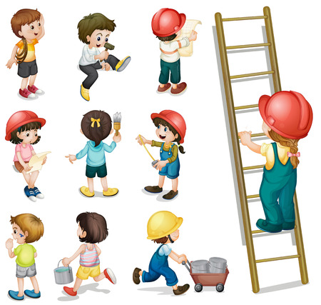 Illustration of the kids working on a white background