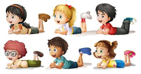 Vektor für Illustration of the six kids on a white background - Lizenzfreies Bild