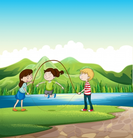 Illustration of the three kids playing near the river
