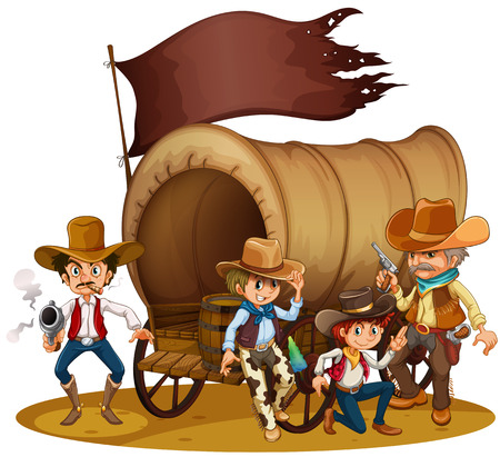 Illustration of the people from the wild West on a white background