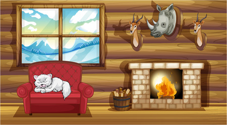 Illustration of the stuffed head decorations at the living room near the fireplace