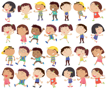 Illustration of a group of happy kids on a white background