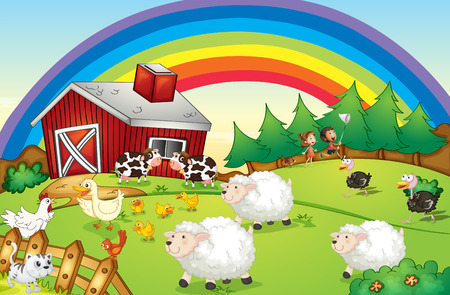 Illustration of a farm with many animals and a rainbow in the sky