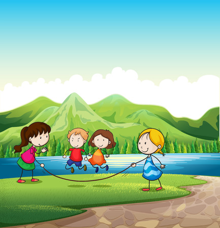 Illustration of the four kids playing with a rope near the river