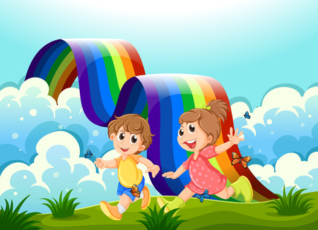 Illustration of the happy kids playing at the hilltop with a rainbow