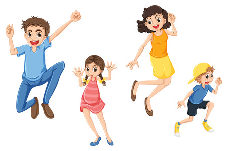 Illustration of a happy family jumping on a white background